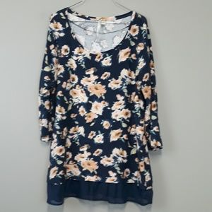 LC Lauren Conrad Navy & Pink Floral Tunic Size XL
